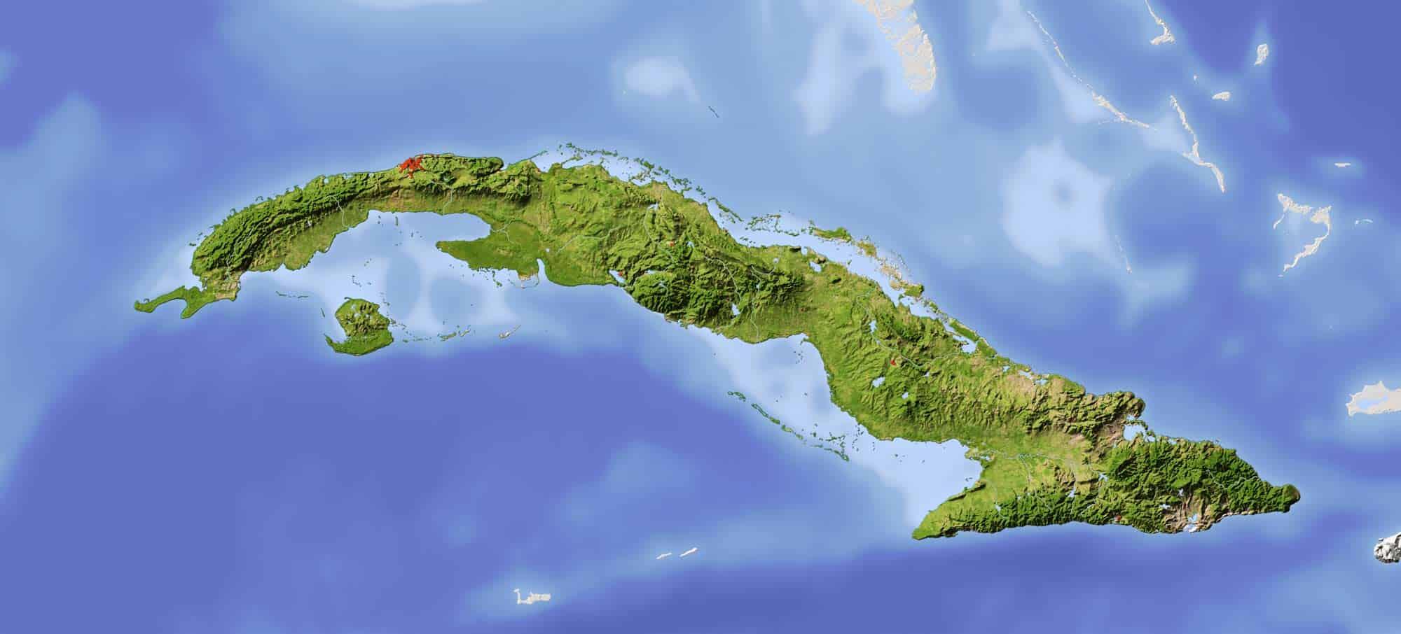 embossed cuba map